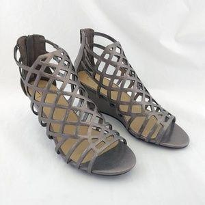 NWOB Material Girl 9M Henie Wedge Sandals Metallic